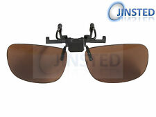 LARGE BROWN GLASSES FLIP FLIP-UP CLIP ON CLIP-ON SUNGLASSES SHADES SUNNIES AC001