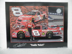 Dale Earnhardt Jr Signed Tradin Paint Sam Bass NASCAR Racing Lithograph JSA