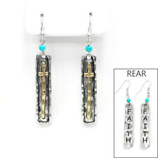FAITH CROSS SILVER GOLD TURQUOISE EARRINGS WESTERN CHRISTIAN COWGIRL TRENDY LONG