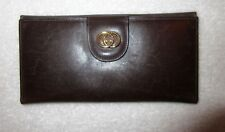 Vintage Gucci G Logo Clasp Wallet Dark Brown Leather Iconic Long --Superb!