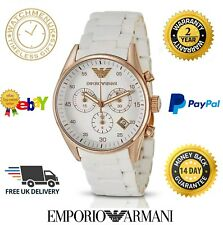 100% NEU Emporio Armani AR5920 Ladies Sportivo ROSE GOLD WHITE CHRONOGRAPH UHR