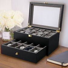 20 Slots Luxury Wooden Watch Case Jewelry Display Storage Box Glass Top Display