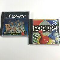 Lot of 2 Sorry! & Scrabble Crossword Games 1996 CD-ROM PC Windows95 Mac SEALED