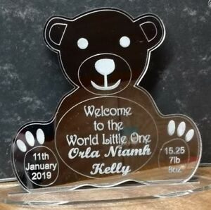 Personalised Mirrored Teddy Bear Plaque/Sign for New Baby or Christening Gift