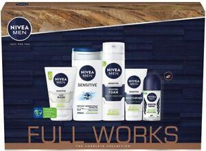 Nivea Men Sensitive The Full Works Gift Set 5 Pieces,Shaving Gel,Shower Gel Etc.