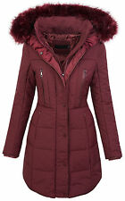 Ladies winter jacket quilted coat parka long coat fur collar hood D-209 S-XL