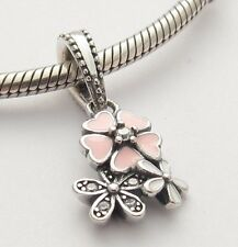 POETRY SPRING BLOOM DANGLE CHARM Bead Sterling Silver.925 4 European Bracelet630