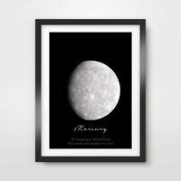 PLANET MERCURY Art Print Poster Decor A4 A3 A2 Outer Space Diagram Illustration