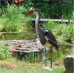 Fischreiher aus Kunststoff Teichfigur Reiher Gartenfigur Gartendeko Teichvogel