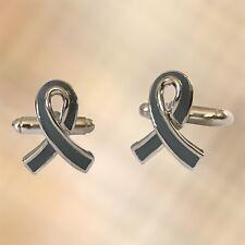 Mens Grey Ribbon Cufflinks Cuffs Grey Ribbon Diabetes, MS Brain Cancer UK Seller