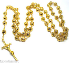 Jesus Cross Crucifix Pendant 18k Gold Filled Bead Balls Rosary Necklace Jewelry