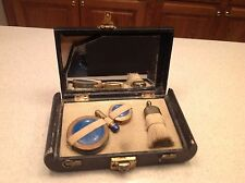 Antique Ladies Vanity Jewelry Box W/ Lock Mirror Brush Black Floral Different
