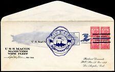 USS Macon Zeppelin Flight Cover USS Northampton Apr 9 1934 Dumonte Cach $125 Cat