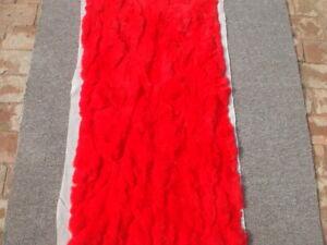 LUXURY REAL Rex Rabbit FUR THROW BLANKET RUG Skin Fur Rug Pelz Leather Pelt RED