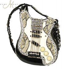 Mary Frances Handbag Graceland Guitar Elvis Beaded Jeweled Blk Wht Shoulder Bag