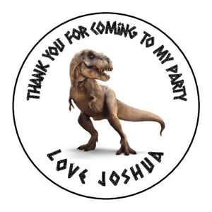 T Rex Dinosaur Personalised Thank You Sticker Party Sweet Cone Birthday
