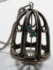 "Silver pewter color metal Blue Bird Cage pendant chain Necklace 34""L"
