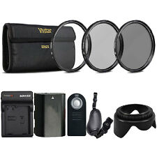 58mm UV CPL ND Kit with Replacement LP-E6 Battery for Canon DSLR Camera