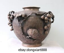 10 Chinese Bronze silvering life-like stereoscopic grape vine Leaf Vase pot Jar