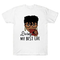 Living My Best Life Black Queen Ladies Funny Graphic Men's  T-shirt Cotton Tee