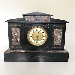 Antique Marble And Slate Mantle Clock Black