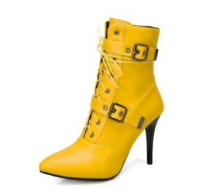 Women's Stiletto High Heel Ankle Boots Buckle Strappy Pointed Toe Shoes Clubwear