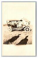 Early Automobile Car Woman Children Farmstead  RPPC Postcard Unposted 1904-18