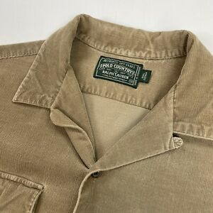 Vintage Ralph Lauren Polo Country (M) Taupe Corduroy Loop Collar Button Shirt