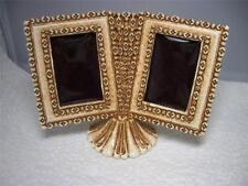 Vintage Florenza Cream Double Picture Frame on Pedestal~New Old Stock