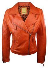 Ladies Women Orange Real Leather Biker Slim Fit Retro jacket