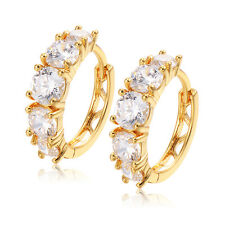 Yellow Gold Plated Shine Hoop Earrings Crystal For Womens Gift European Jewelry