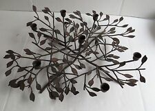 """Brown Iron Metal Taper 7 Candle Holder Branches Leaves Table Centerpiece 20"""""""