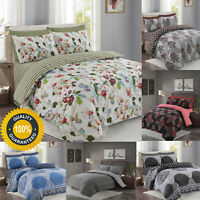 Printed Floral Duvet Set Quilted Cover With Pillow Cases and Fitted Sheet Double