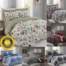 Conjunto de edredón Floral Impreso Cubierta Acolchado con fundas de almohada y sábana ajustable doble