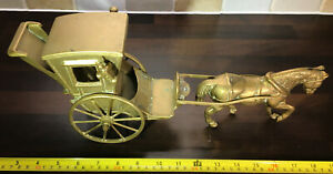 Large Vintage Brass Horse & Carriage