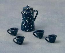 Blue picchiettatura CAFFETTIERA, quattro tazze, casa delle bambole Miniatures, metallo, scala 1.12th
