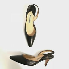 Manolo Blahnik Black Leather Carolyne Pointed Toe Slingback Heels Pumps Shoes 38