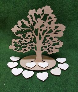 Wooden MDF Family Oak Tree craft shapes With Stand and 10 hearts 150mm