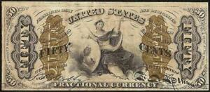 50 CENT JUSTICE FRACTIONAL CURRENCY SMALL a NOTE PAPER MONEY Fr 1365 CRISP AU