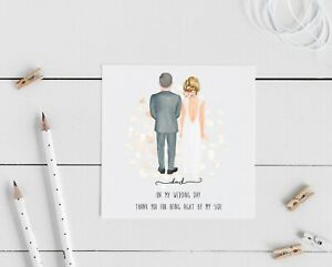 Father Of The Bride, Personalised Thank You Wedding Card, groom, bride,  dad