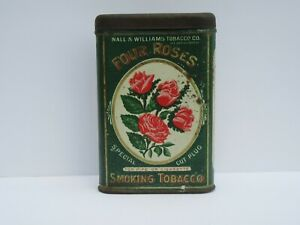 RARE Nall & Williams Four Roses Tobacco Tin (Good Cond)
