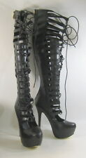 """New Blacks 6""""Stiletto high heel front lace up sexy over the knee boots Size  7"""