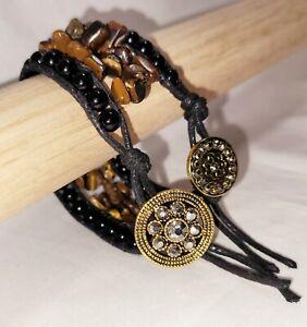 Tigers Eye Cuff Wrap bracelet Obsidian Antique Gold Button Rhinestone Sz 7.5
