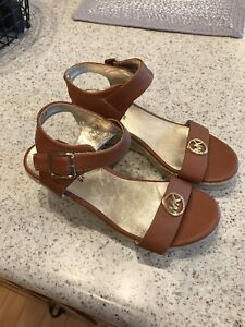Michael Kors Cognac Leather Ankle Strap Open Toe High Heel Shoes Sz 3