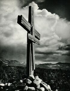 1950s Vintage ANSEL ADAMS Wooden Cross Truchas New Mexico Photo Gravure Art 8X10