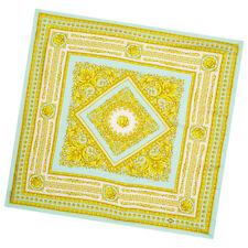 Versace Seda Cuadrado Azul Amarillo Bufanda Estampado Barroco-Gran Regalo