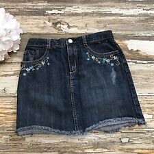 Gymboree Denim Skirt Girls 9 Malibu Cowgirl Embroidered Flowers Rodeo Fringe