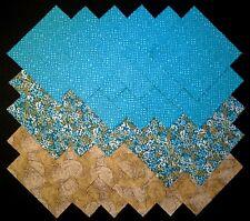 "TEAL & BROWN Prints 5"" Squares, 100% cotton Prewashed Quilt Block Fabric (#112B)"