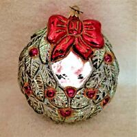 Neiman Marcus  2008 Christmas Wreath Blown Glass Ornament - Double Sided w/ Tag