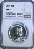 1964 NGC PF68 PROOF KENNEDY HALF DOLLAR BRIGHT WHITE COIN 50C